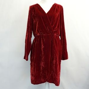 Beltaine Red Velvet Surplice Holiday Party Dress